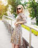 Donna bionda di Prettyl che indossa un vestito e gli occhiali da sole dal leopardo fotografia stock