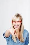 Donna bionda felice Immagine Stock