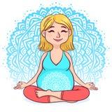 Donna bionda incinta nella posizione di loto contro il fondo della mandala Stile sveglio del fumetto Illustrazione di vettore Fotografia Stock