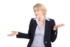 Donna bionda indecisa isolata di affari in attrezzatura di affari su wh Fotografia Stock Libera da Diritti