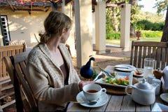 Donna bionda in ristorante esterno con i pavoni Fotografia Stock