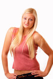 Donna bionda sexy in camicia rossa Fotografia Stock