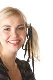 Donna bionda sorridente Fotografie Stock