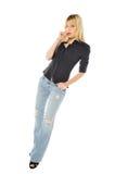 Donna bionda sottile alta Fotografia Stock Libera da Diritti