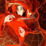 Donna brillante nello spazio, attingente carta Immagine Stock Libera da Diritti