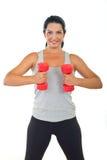 Donna in buona salute che fa forma fisica con il barbell Fotografia Stock Libera da Diritti