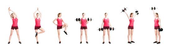 Donna in buona salute e sportiva di misura, nel risolvere degli abiti sportivi Immagine Stock Libera da Diritti