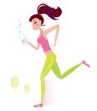 Donna in buona salute pareggiante o funzionante con la bottiglia di acqua Immagini Stock Libere da Diritti