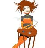 Donna in caffè Immagine Stock