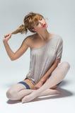 Donna in calze bianche Fotografia Stock