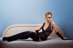 Donna in calze nere Fotografia Stock