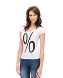 Donna in camicia con il segno di percentuali Immagine Stock Libera da Diritti