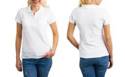 Donna in camicia, parte anteriore e parte posteriore bianche di polo immagine stock