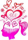 Donna capa in pieno dei pensieri di amore Immagini Stock Libere da Diritti