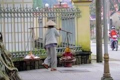 Donna in cappello conico asiatico tradizionale su bycicle Fotografie Stock Libere da Diritti