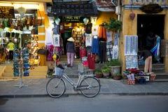 Donna in cappello conico tradizionale sulla via del mercato di Hoi An immagine stock libera da diritti