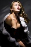 Donna in cappotto di pelliccia fotografia stock