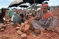 Donna in carriera nella rottura del campo, Dacca, Bangladesh fotografia stock libera da diritti