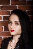 Donna castana abbastanza sexy in bomber Fotografia Stock Libera da Diritti