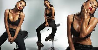 Donna castana attraente e Fotografia Stock