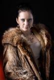 Ritratto della donna di bellezza in pelliccia di lusso di inverno Fotografie Stock Libere da Diritti
