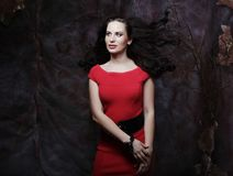 Donna castana di giovane bellezza sexy in vestito rosso Fotografia Stock