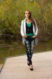 Donna castana di stile del blog bella nella posa alla moda del vestito Immagine Stock