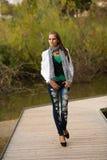 Donna castana di stile del blog bella nella posa alla moda del vestito Fotografie Stock Libere da Diritti