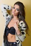 Donna castana sensuale che posa vicino alla parete in biancheria Fotografia Stock