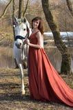 Donna castana in un vestito rosso Fotografie Stock