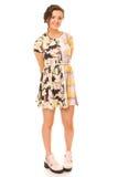 Donna castana in vestito Colourful Immagine Stock Libera da Diritti