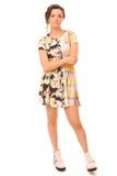 Donna castana in vestito Colourful Fotografie Stock