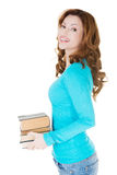Donna casuale attraente con i libri Fotografia Stock Libera da Diritti