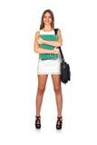 Donna casuale dell'allievo con il dispositivo di piegatura e la cartella Immagine Stock Libera da Diritti