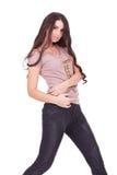 Donna casuale in jeans con capelli lunghi liberi Fotografia Stock