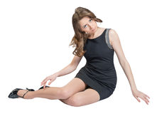 Donna caucasica affascinante che si trova sul pavimento Fotografia Stock