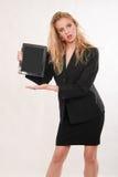 Donna caucasica bionda attraente di affari Fotografie Stock Libere da Diritti