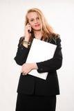 Donna caucasica bionda attraente di affari Immagini Stock