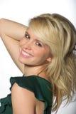 Donna caucasica bionda bella, sorridente Immagini Stock