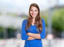 Donna caucasica felice con capelli biondi immagine stock