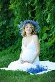 Donna caucasica incinta immagine stock
