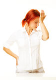 Donna caucasica Pensive Immagini Stock