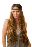 Donna caucasica sexy con capelli lunghi Fotografia Stock