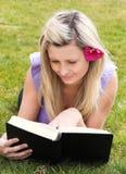 Donna Charming che legge un libro in una sosta Immagine Stock