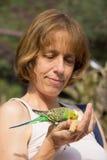 Donna che alimenta pappagallino ondulato verde a disposizione Fotografia Stock Libera da Diritti