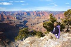 Donna che ammira il grande canyon, Arizona Immagini Stock Libere da Diritti
