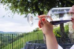 Donna che assagia un vetro di vino rosso Immagine di colore Immagini Stock