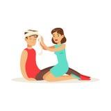 Donna che benda la testa dell'uomo danneggiato, illustrazione di vettore del pronto soccorso illustrazione vettoriale
