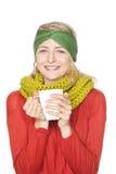 Donna che beve cioccolato caldo Immagini Stock
