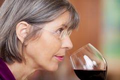 Donna che beve vino rosso in ristorante Fotografia Stock Libera da Diritti